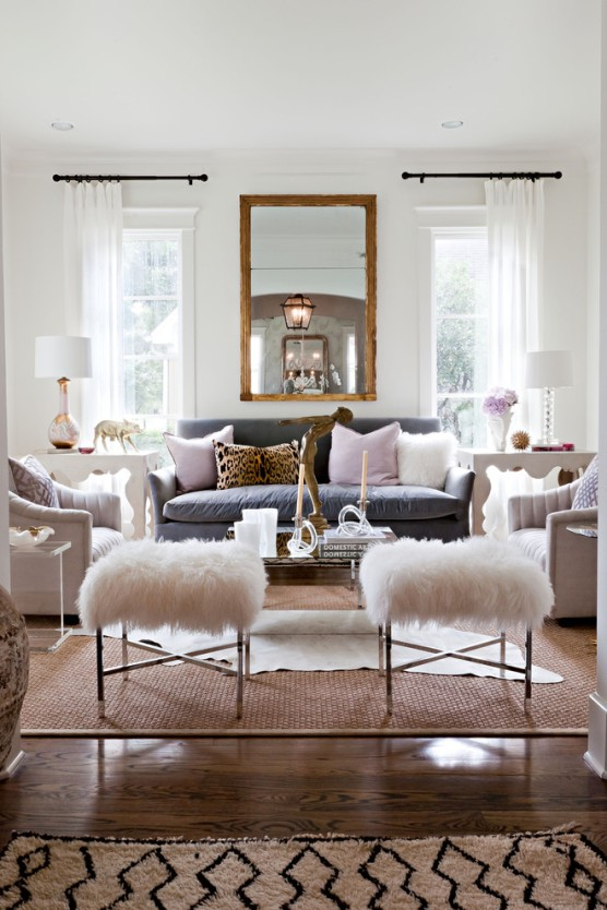 sally-wheat-interiors-accent-leopard-schalamandre-pillow-furry-white-stools-sisal-carpet-layering-hide-gold-mirror-living-room-white-walls
