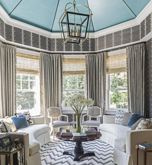 {1 & 3} A Hampton Showhouse bedroom by Kemble Interiors {3} Schumacher Showroom {4} Schmacuher's fireplace vignette